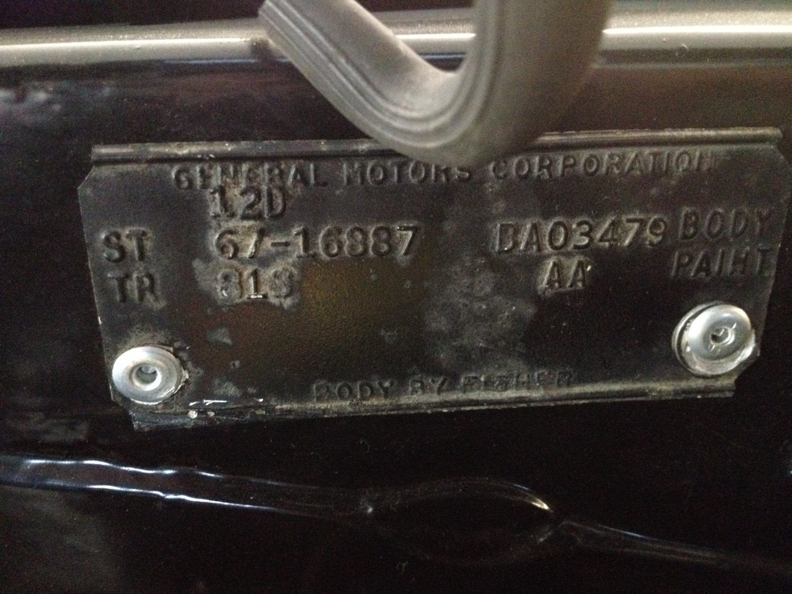 1967 Ss 427 L 36 Cowl Amp Vin Tags Your Thoughts Chevy