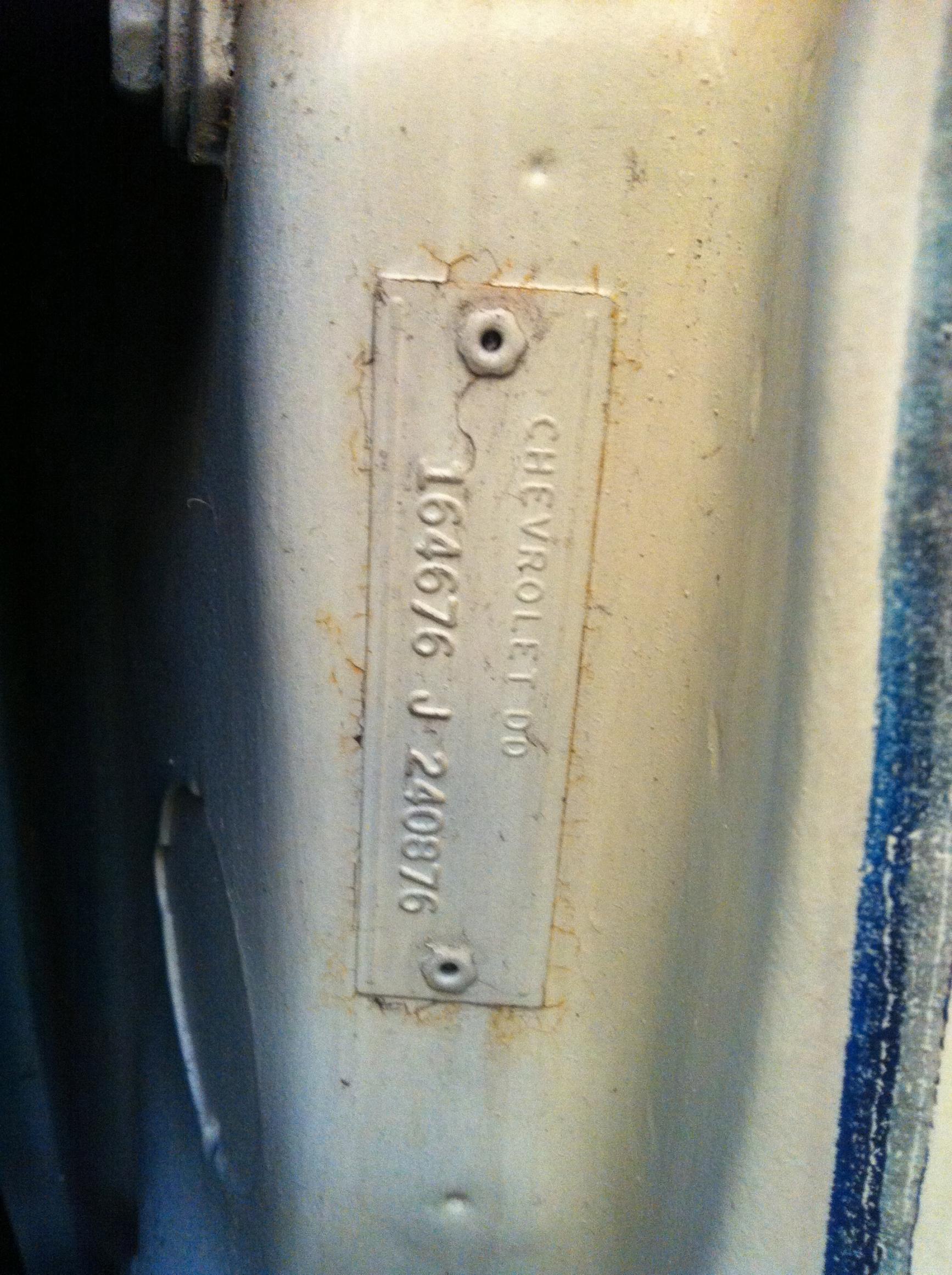 1966 Impala Need Help To Decode Body Tag Chevy Impala