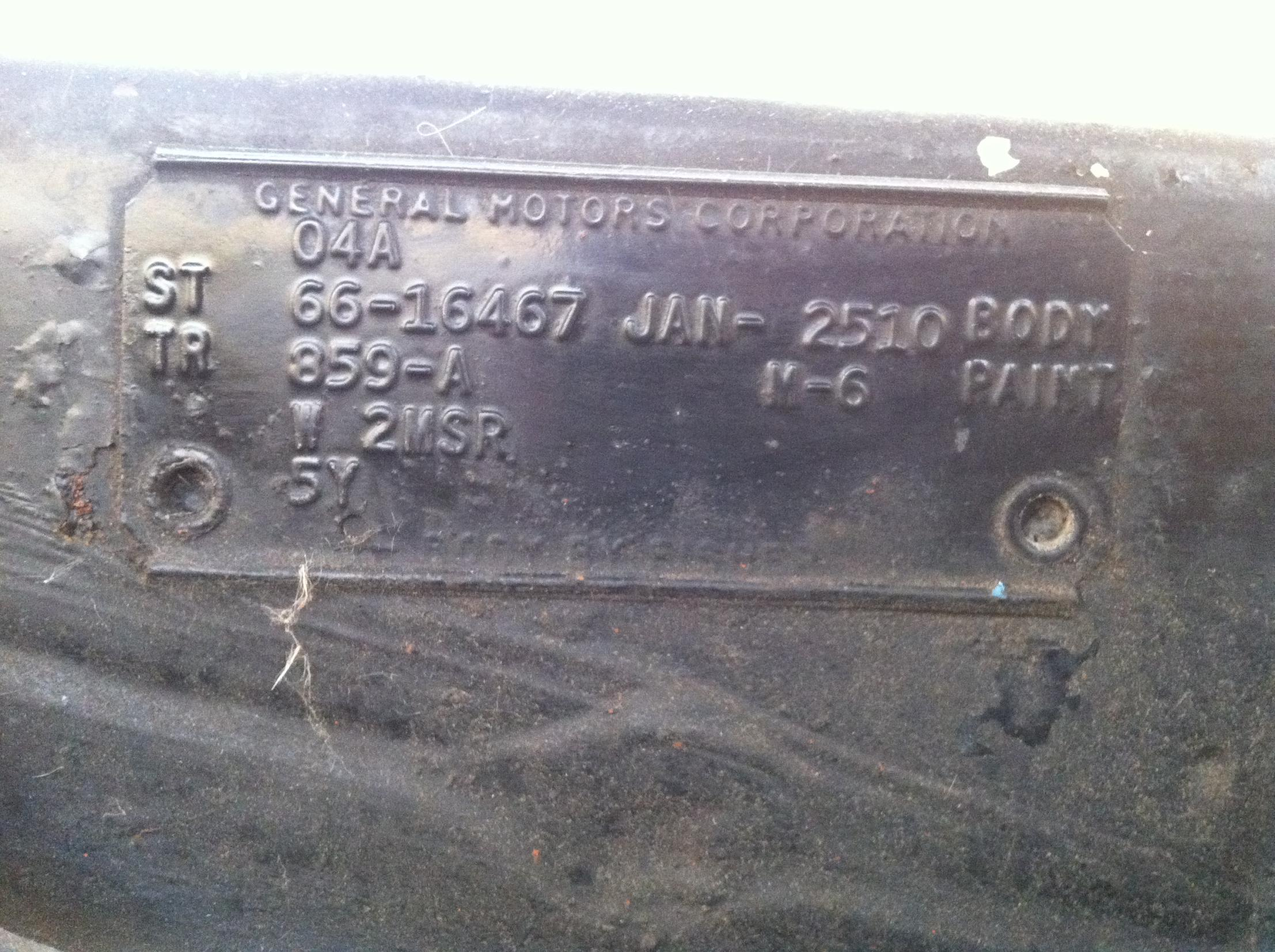 1966 Impala - Need help to decode Body Tag - Chevy Impala Forums
